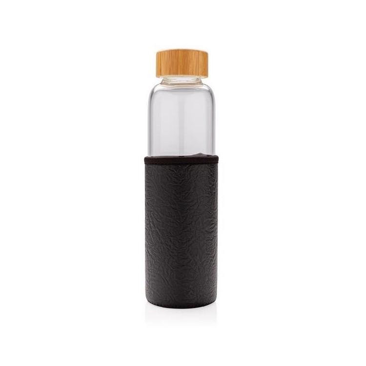 Bouteille en verre 55cl avec housse texturée personnalisé - Verre personnalisable