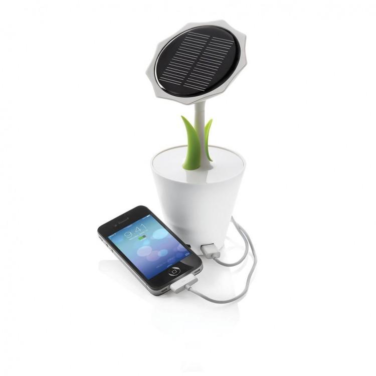 Chargeur solaire tournesol 2500mAh - Ecologique avec logo