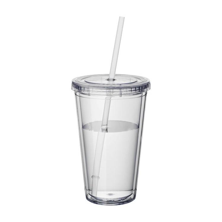Gobelet double paroi avec paille - Mug, tasse & gobelet publicitaire