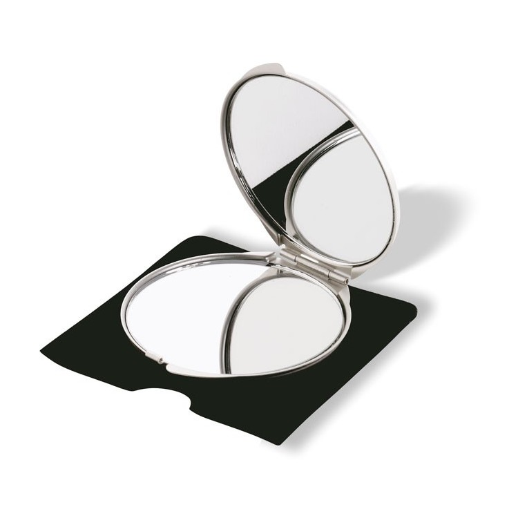 Double miroir couleur aluminium - Miroir avec logo