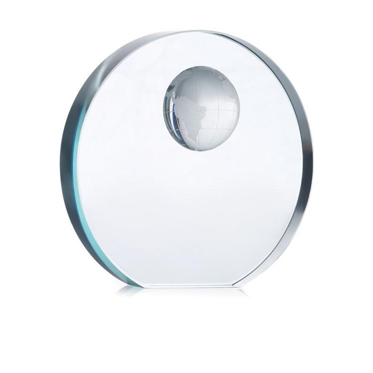Trophée globe en verre - Presse-papier publicitaire