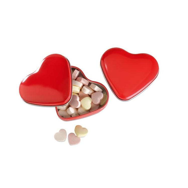 Boîte coeur avec bonbons publicitaire - Plein air personnalisé