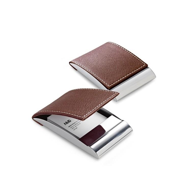 Etui cartes de visite cuir et métal - Etui cartes de visite avec logo
