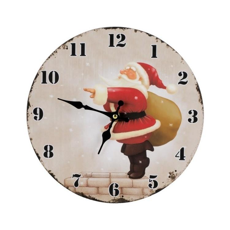 Horloge murale Père Noël Ø 28 cm personnalisé - Noël personnalisable