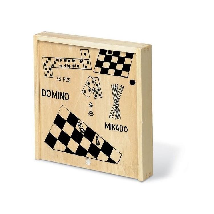 4 jeux dans une boîte en bois - Jeu de société avec logo
