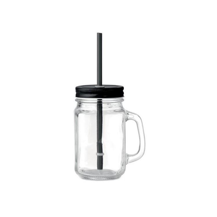 Tasse en verre avec paille - Verre à cocktail avec logo