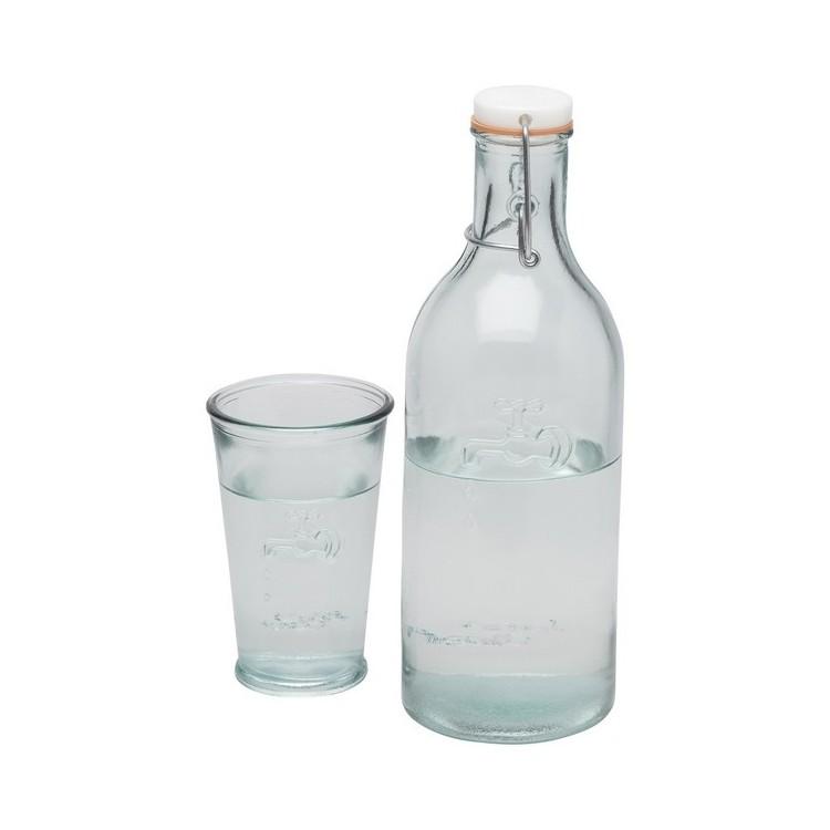 Bouteille carafe et verre recyclés - Produits personnalisé