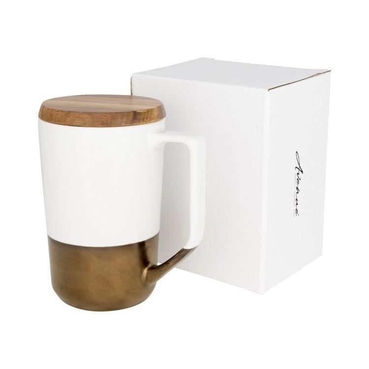 Tasse en céramique avec couvercle en bois 47cl - Produits personnalisé