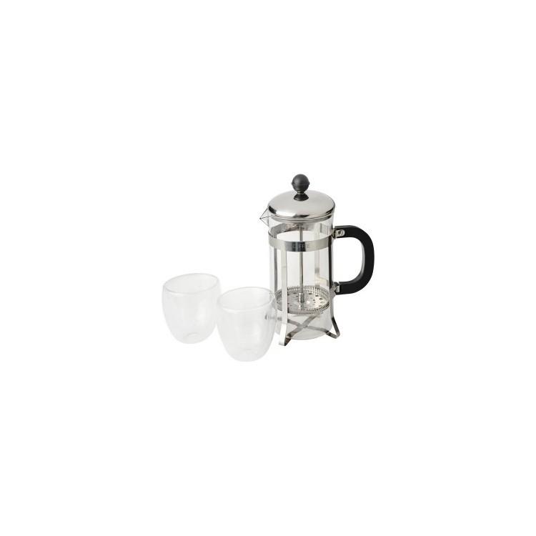 Cafetière à piston 60cl et 2 verres 10 cl - Produits personnalisable