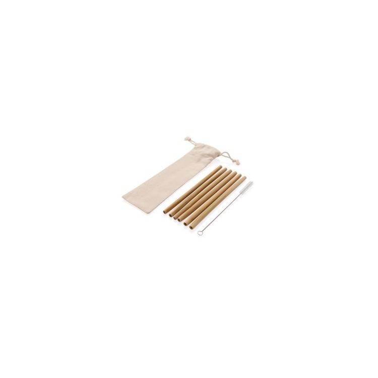 Set de 6 pailles en fibre de bambou - Produits avec logo