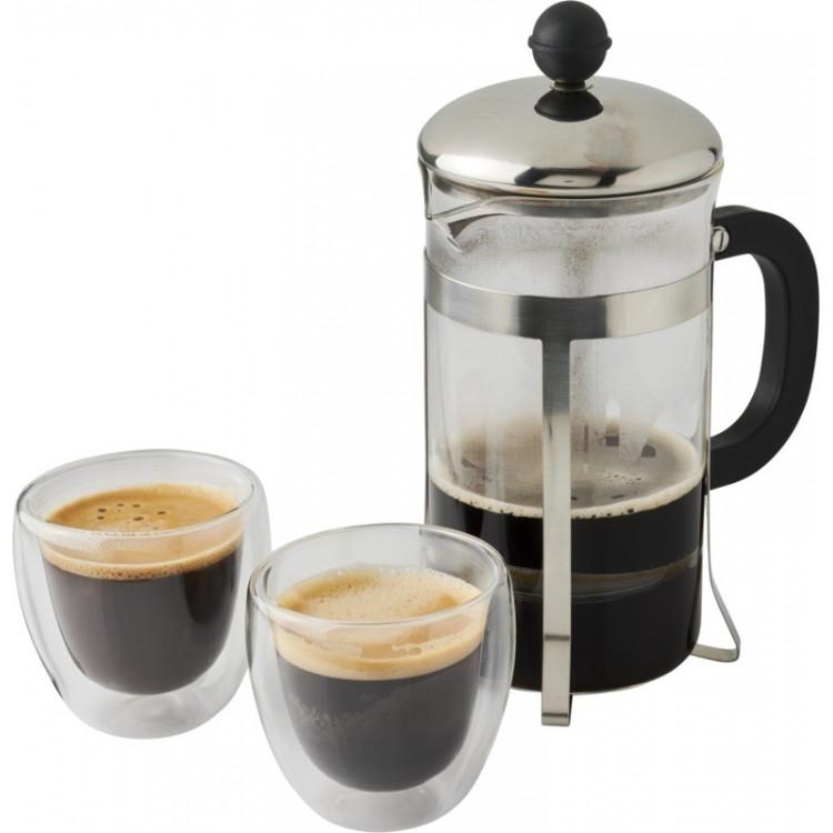 Cafetière à piston 60cl et 2 verres 10 cl personnalisé - Arts de la table personnalisable