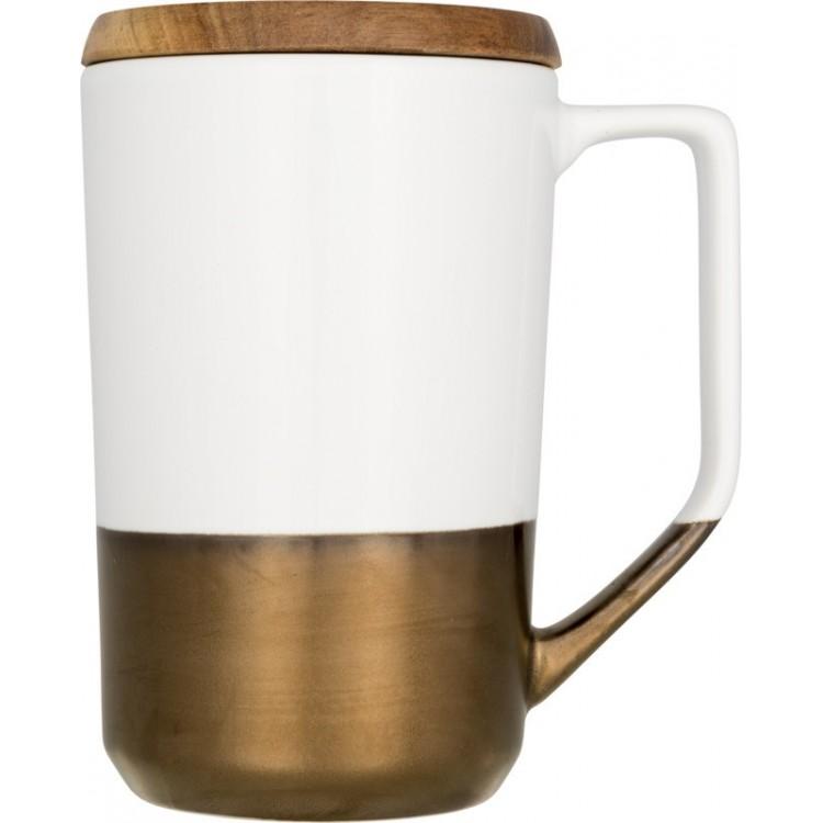 Tasse en céramique avec couvercle en bois 47cl publicitaire - Mug personnalisé