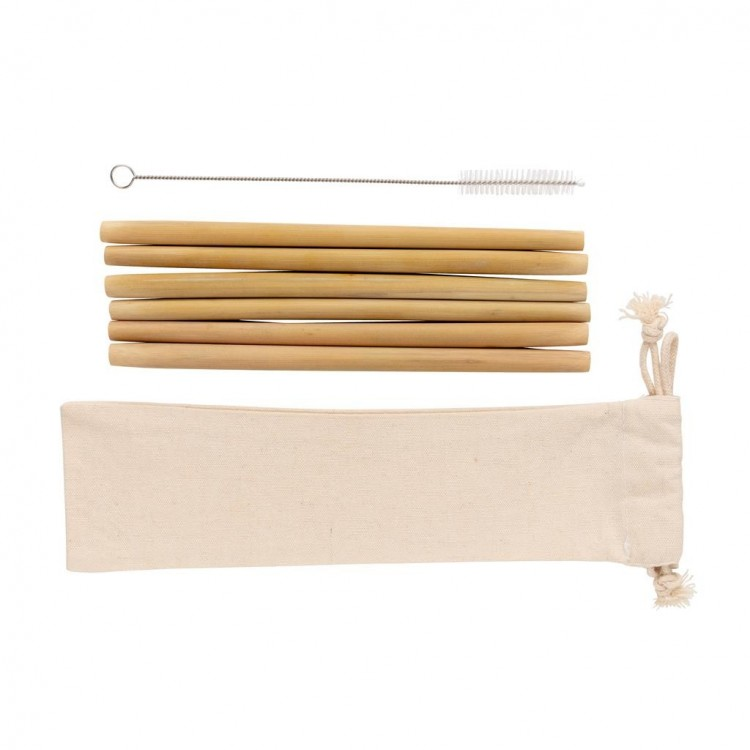 Set de 6 pailles en fibre de bambou - Arts de la table avec logo