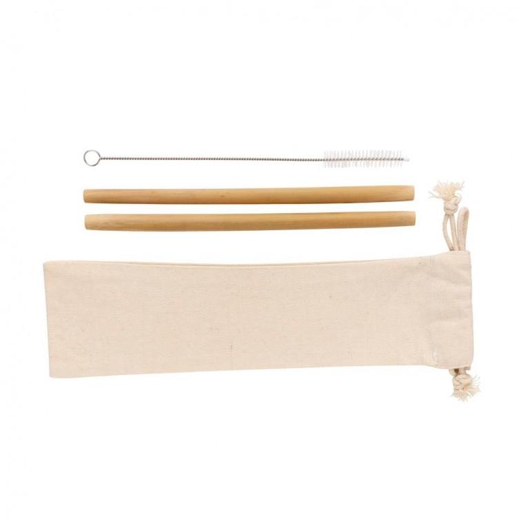 Set de 2 pailles en fibre de bambou personnalisé - Arts de la table personnalisable