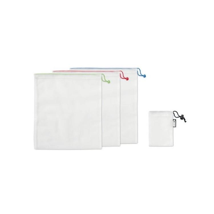 3 sacs filet en RPET 30x25cm - Produits personnalisable